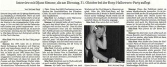 DIE SÜDDEUTSCHE ZEITUNG BERICHTET IN EINEM INTERVIEW ÜBER DJANE SIMONÉ IM ROXY ULM.